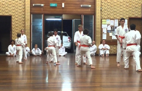 Karate grading to red belt
